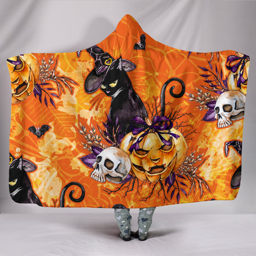 Sassy Black Cat Halloween - Hoodie Blanket