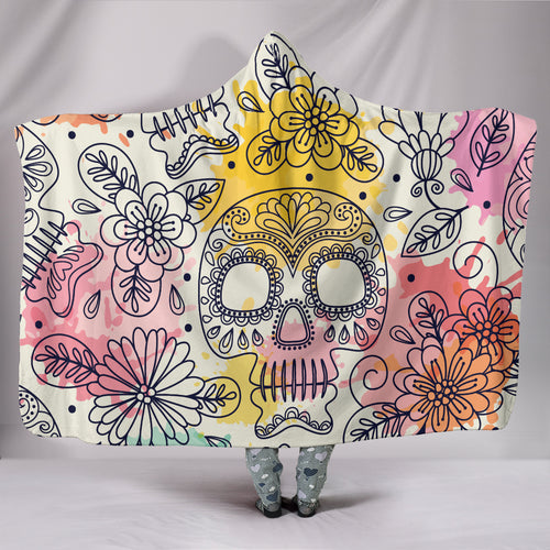Pastel Solo Sugar Skull with Flowers - Hoodie Blanket