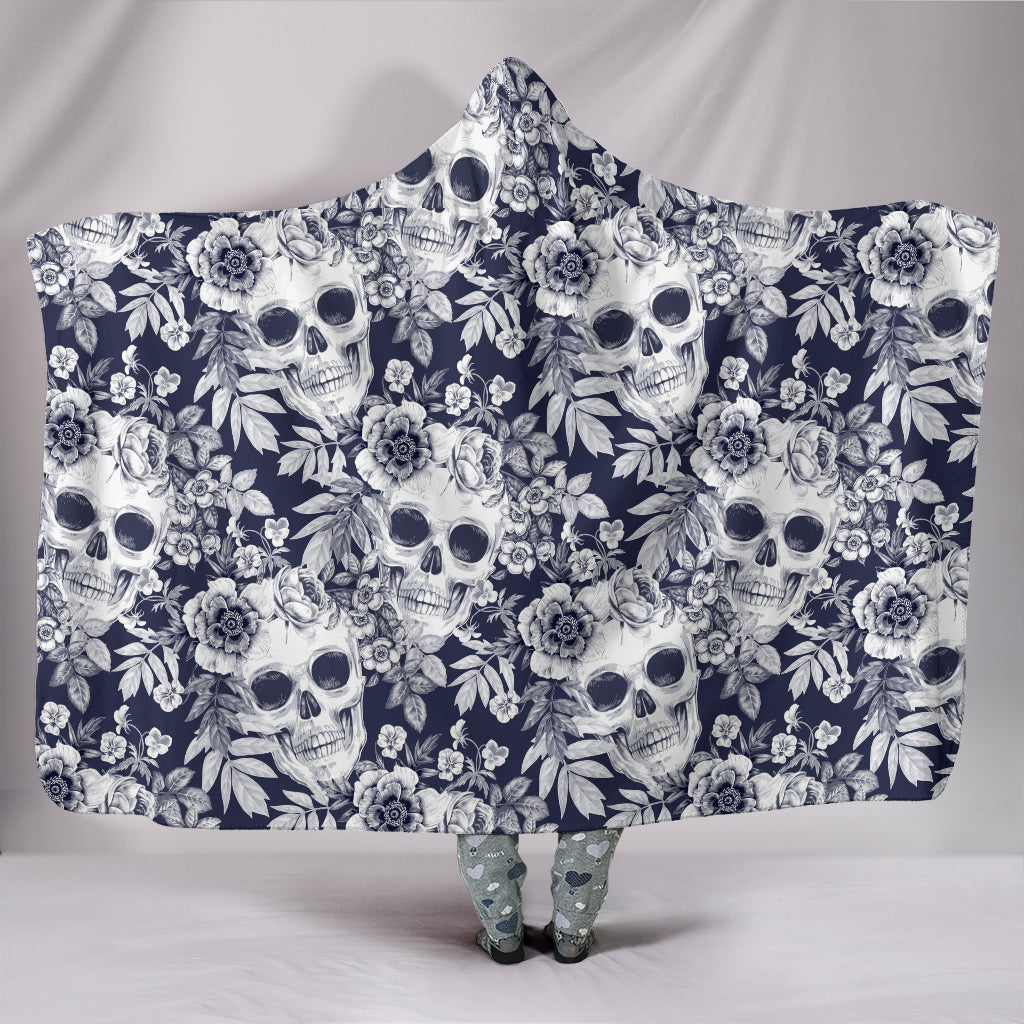 White Skulls with Flowers - Hoodie Blanket