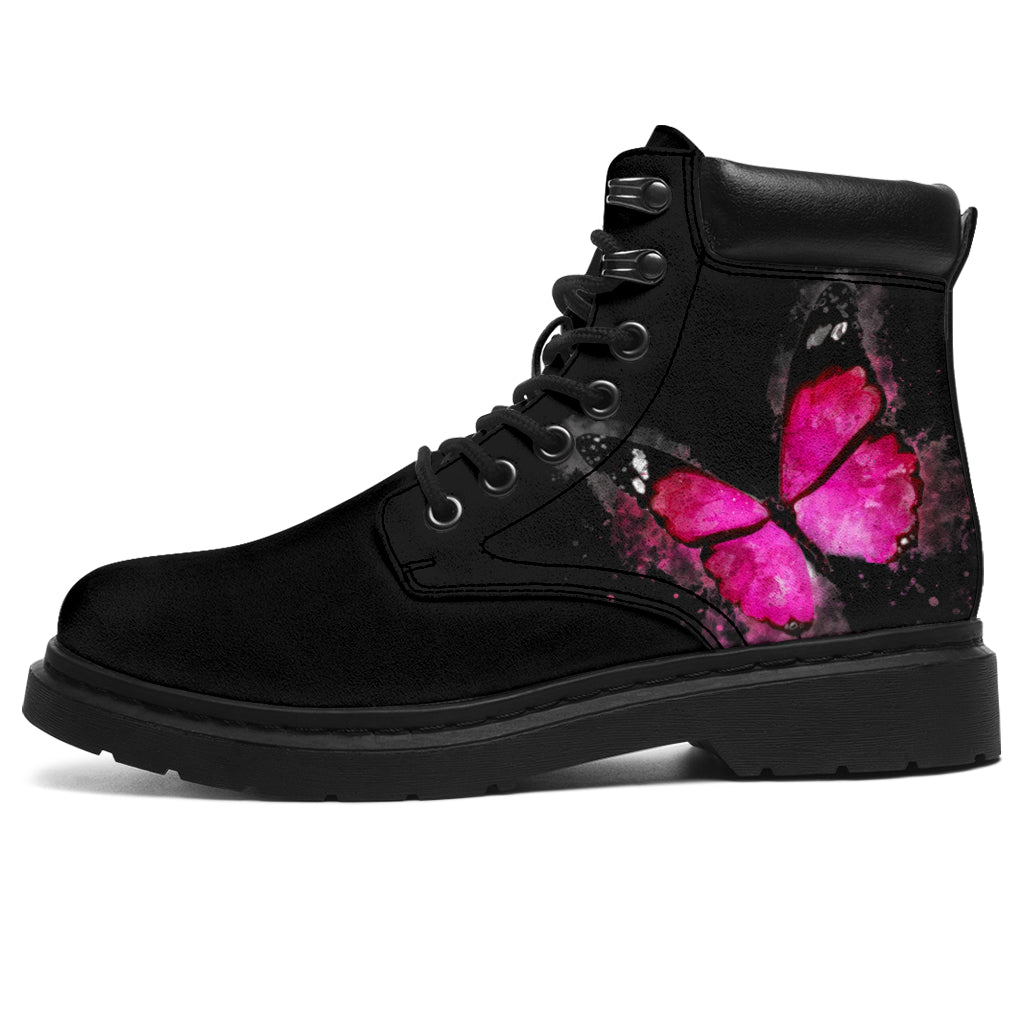 Pink Butterfly on Black All-Weather Boot