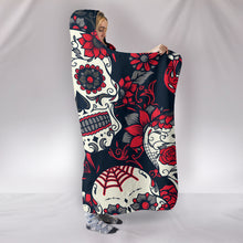 Load image into Gallery viewer, White and Grey Sugar Skulls - Hoodie Blanket