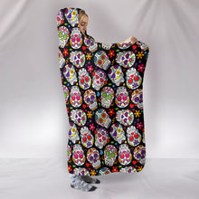 Load image into Gallery viewer, Colorful Dia de los Muertos Sugar Skulls - Hoodie Blanket