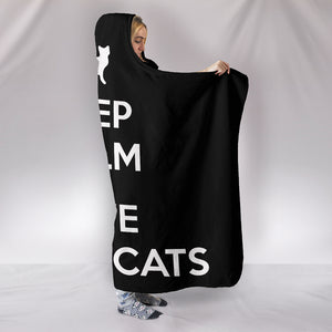 Keep Calm and Love Black Cats - Hoodie Blanket