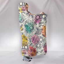 Load image into Gallery viewer, Pastel Large Sugar Skulls - Hoodie Blanket