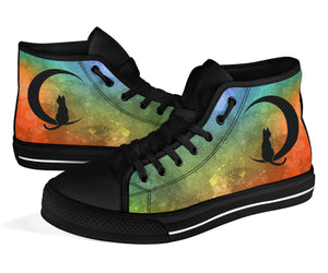 Custom Designed High Top Sneakers Green Nebula