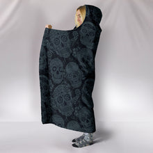 Load image into Gallery viewer, Dark Shadow Sugar Skulls - Hoodie Blanket