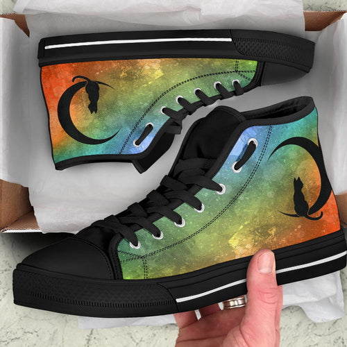 Custom Designed High Quality High Top Sneakers Green Nebula