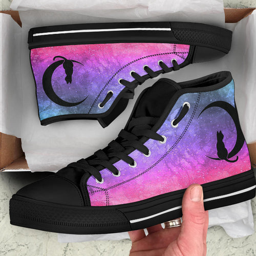 Custom Designed High Quality High Top Sneakers Pinkest Nebula
