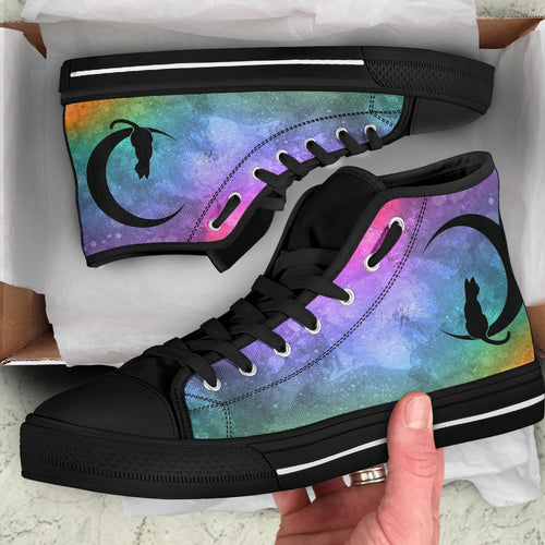 Custom Designed High Quality High Top Sneakers Prism Nebula