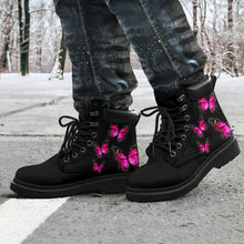 Load image into Gallery viewer, Pink Butterfly on Black All-Weather Boot