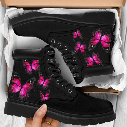 Pink Butterflies on Black Boot