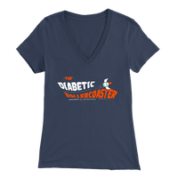 Women's V-Neck T-Shirt - The Diabetic Roller-Coaster