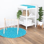 Play Mat w Waterproof/Non-Slip Backing - Teal Giraffe