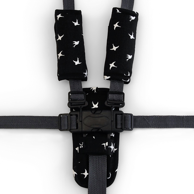 Harness Cover Set - Black with White Swallows - Outlook Baby