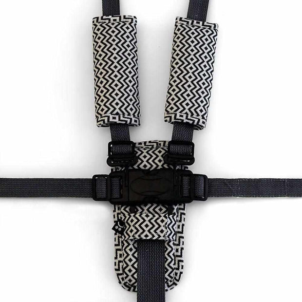 Harness Cover Set - Charcoal Aztec-Harness Cover Set-Outlook Baby