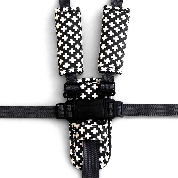3 Piece Harness Cover Set - Charcoal Crosses - Outlook Baby
