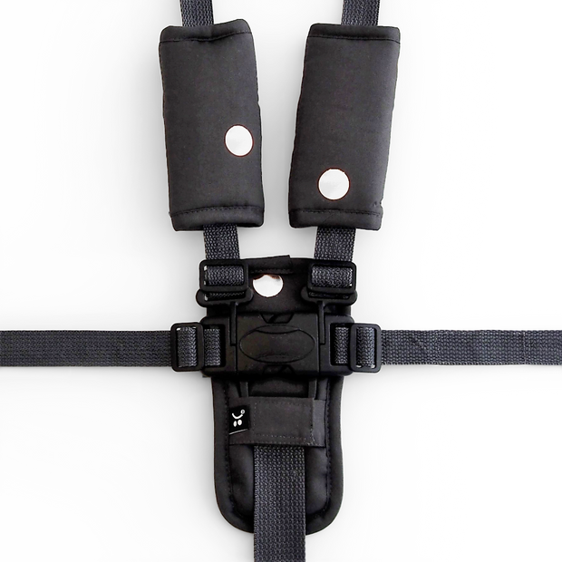 3 Piece Harness Cover Set - Charcoal/Silver Spots - Outlook Baby
