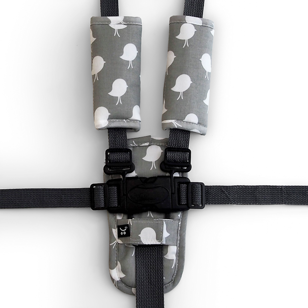 3 Piece Harness Cover Set - Grey Bird - Outlook Baby