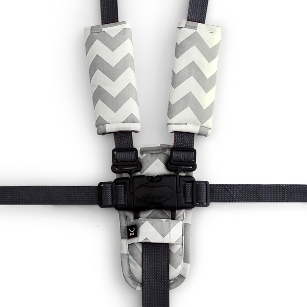 Harness Cover Set - Grey Chevron-Harness Cover Set-Outlook Baby