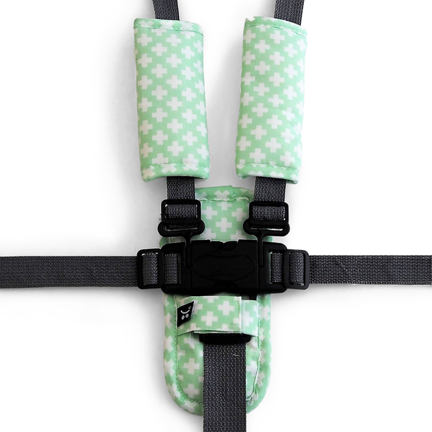 3 Piece Harness Cover Set - Mint Crosses - Outlook Baby