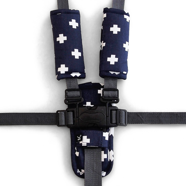 Harness Cover Set - Navy Crosses-Harness Cover Set-Outlook Baby