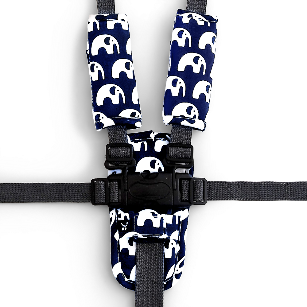 Harness Cover Set - Navy Elephants - Outlook Baby