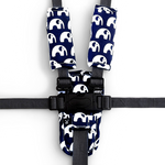Harness Cover Set - Navy Elephants