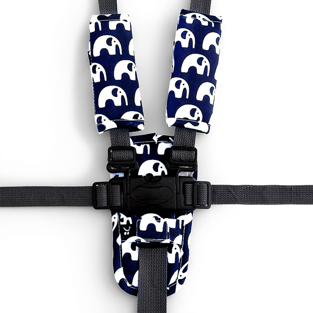3 Piece Harness Cover Set - Navy Elephants - Outlook Baby