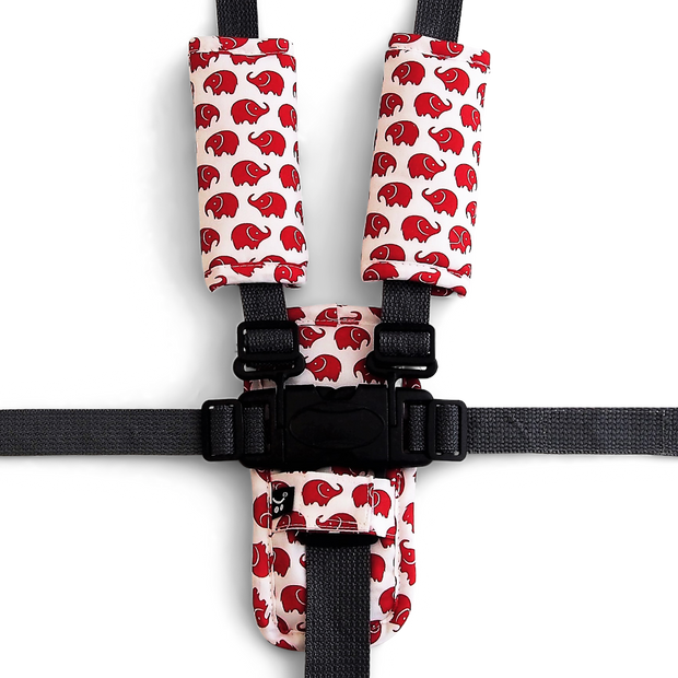 3 Piece Harness Cover Set - Red Elephants - Outlook Baby