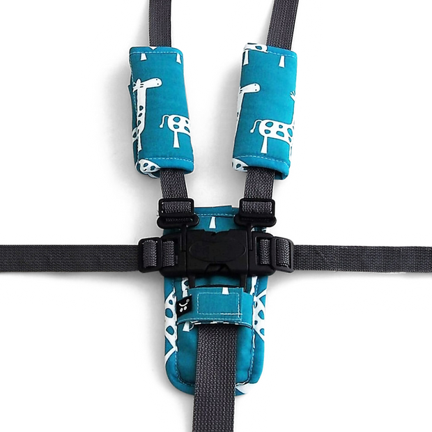 Harness Cover Set - Teal Giraffe-Harness Cover Set-Outlook Baby