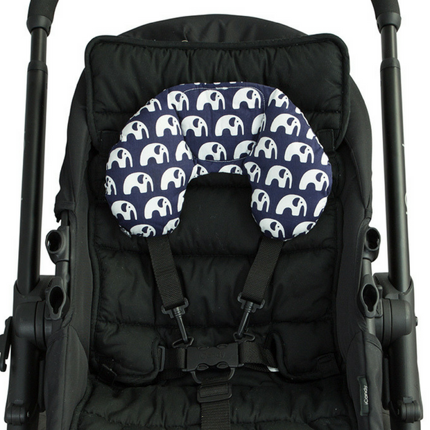 Head Hugger w Bonus Toy Strap - Navy Elephant - Outlook Baby