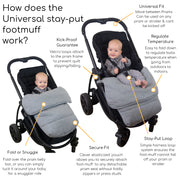 Universal Stay-Put Pram Quilt/Footmuff - Light Grey