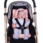 Foil Print Head Support with Pram Liner - Peach/Gold Spots - Outlook Baby