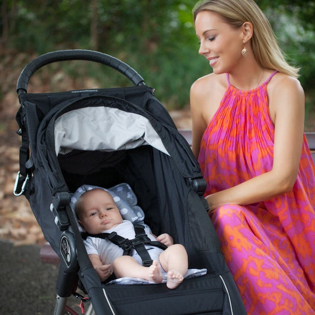 Pram Liner with built in head support - Grey Birds - Outlook Baby