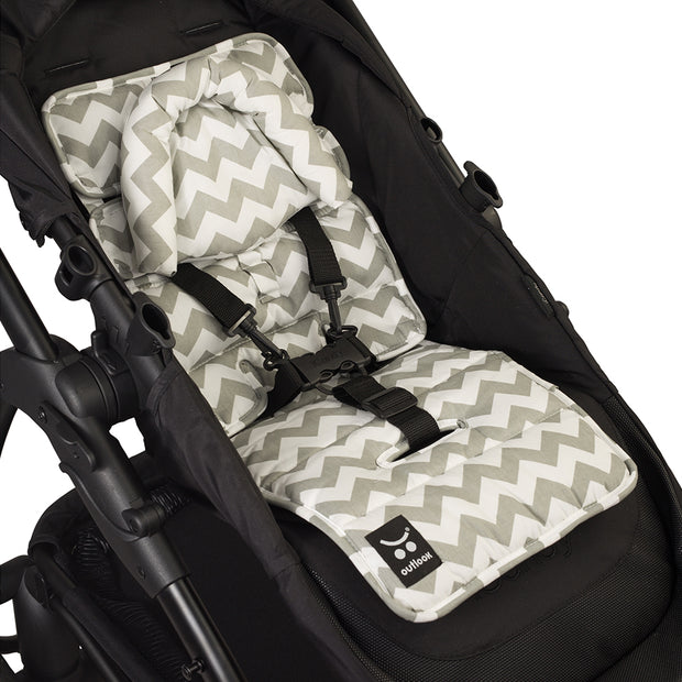 Pram Liner with built in head support - Grey Chevron - Outlook Baby