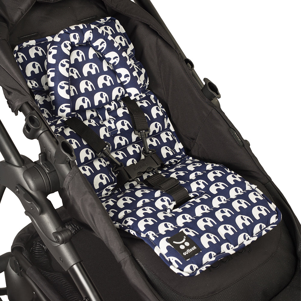 Mini Liner with Head Support - Navy Elephants