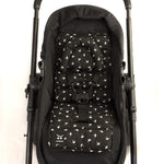 Mini Liner with Head Support - Black with White Swallows - Outlook Baby