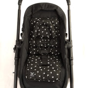 Pram Liner with built in head support - Black with White Swallows - Outlook Baby