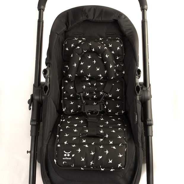Mini Liner with Head Support - Black with White Swallows-Mini liner with head support-Outlook Baby
