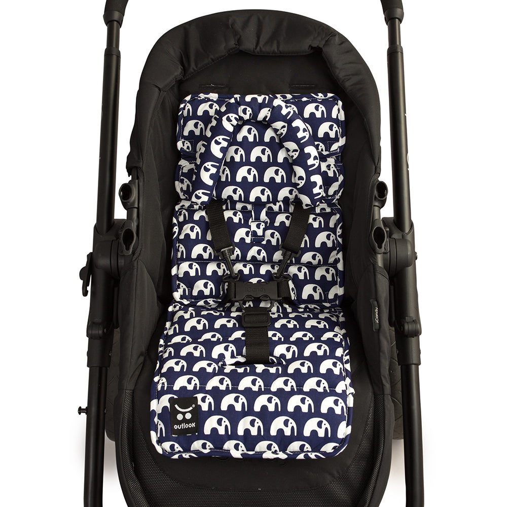 Mini Liner with Head Support - Navy Elephants - Outlook Baby