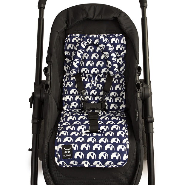 Pram Liner with built in head support - Navy Elephants - Outlook Baby