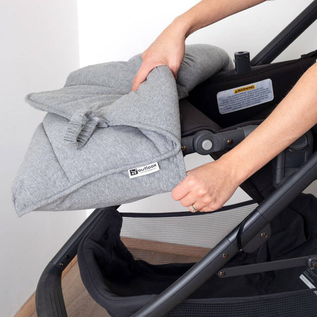 Universal Stay-Put Pram Quilt/Footmuff- Charcoal-Stay-Put Jersey Pram Quilt-Outlook Baby