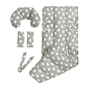 4 Piece Pram Liner Set - Grey Birds - Outlook Baby