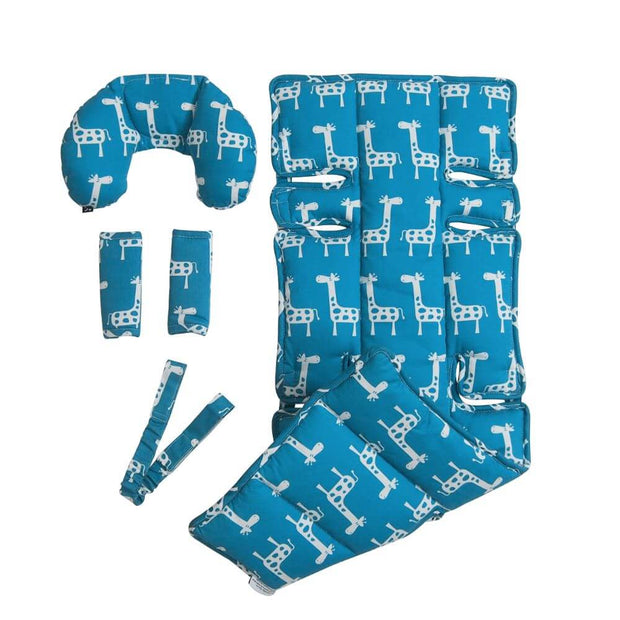 4 Piece Pram Liner Set - Teal Giraffe - Outlook Baby