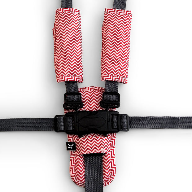 Harness Cover Strap Set - Red Zig Zag - Outlook Baby