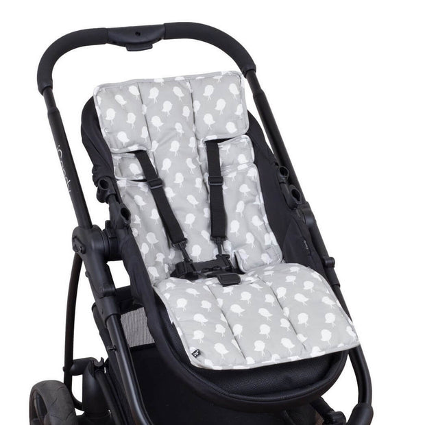 Stay-Put Pram Quilt/Footmuff & Grey Bird Liner Bundle