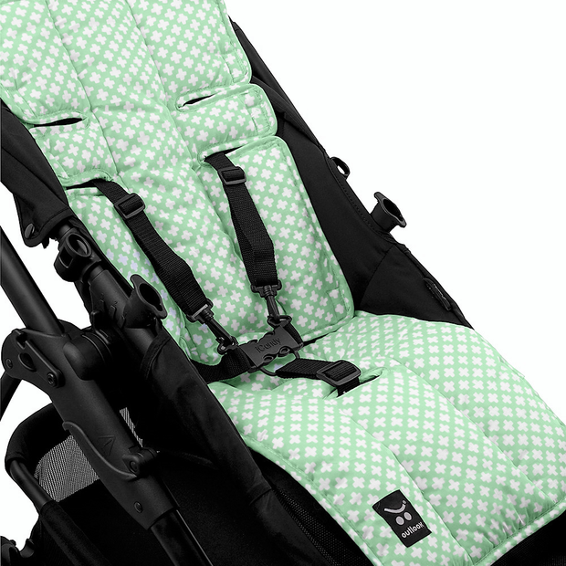 Pram Liner - Mint Crosses - Outlook Baby