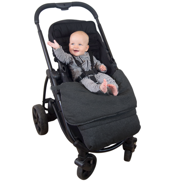 Universal Stay-Put Pram Quilt/Footmuff- Charcoal - Outlook Baby