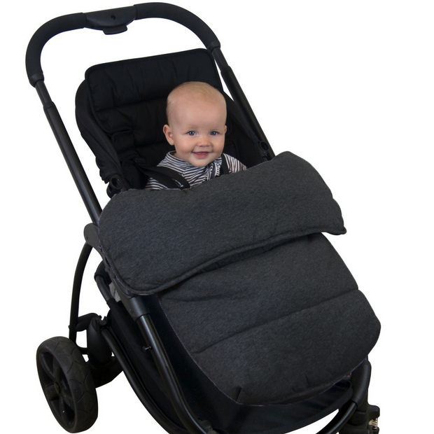 Stay Put Jersey Cotton Pram Quilt - Charcoal Grey - Outlook Baby