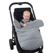 Universal Stay-Put Pram Quilt/Footmuff - Light Grey-Stay-Put Jersey Pram Quilt-Outlook Baby